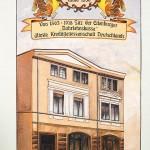 Wandbild am Haus in Eilenburg der ältesten Kreditgenossenschaft in Eilenburg