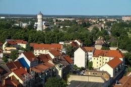 Eilenburg - Blick auf die Stadt mit Wasserturm, Muldenaue, Torgauer Straße & Eilenburg-Ost